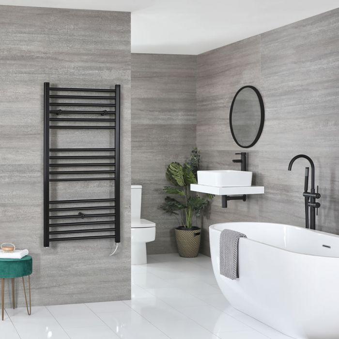 Milano Nero Electric - Flat Matt Black Heated Towel Rail 1200mm x 600mm