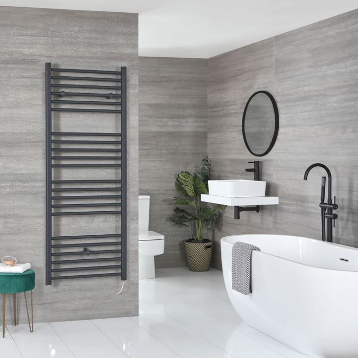 Milano Artle Electric - Flat Anthracite Heated Towel Rail 1600mm x 600mm