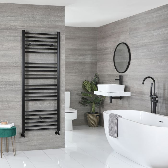 Milano Nero - Flat Matt Black Heated Towel Rail 1600mm x 600mm
