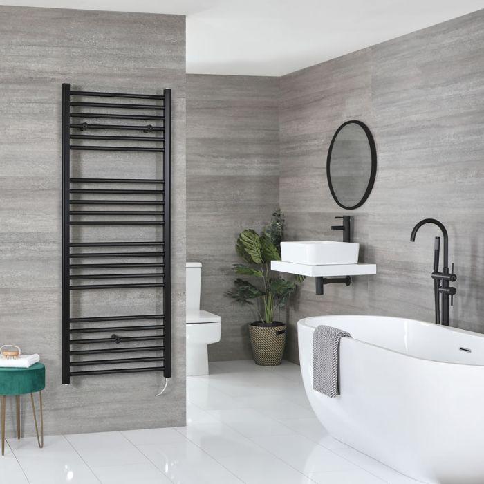 Milano Nero Electric - Flat Matt Black Heated Towel Rail 1600mm x 600mm