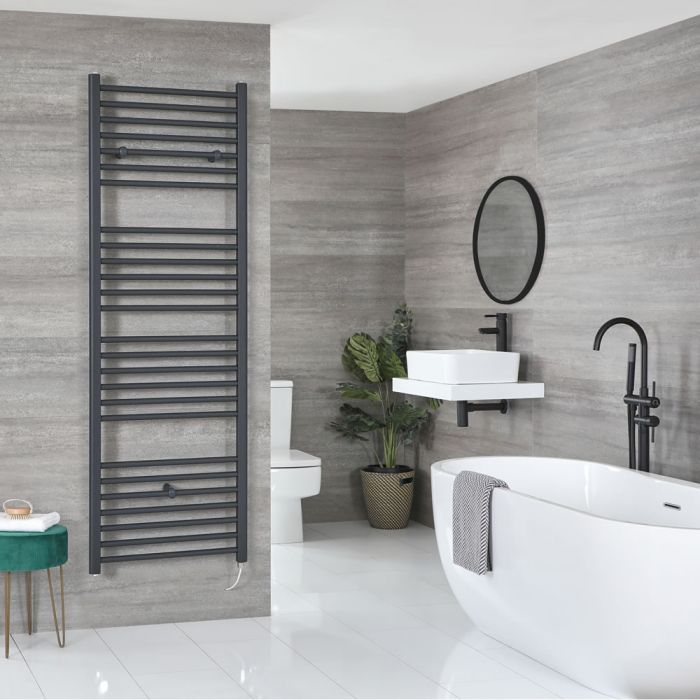 Milano Artle Electric - Flat Anthracite Heated Towel Rail 1800mm x 600mm