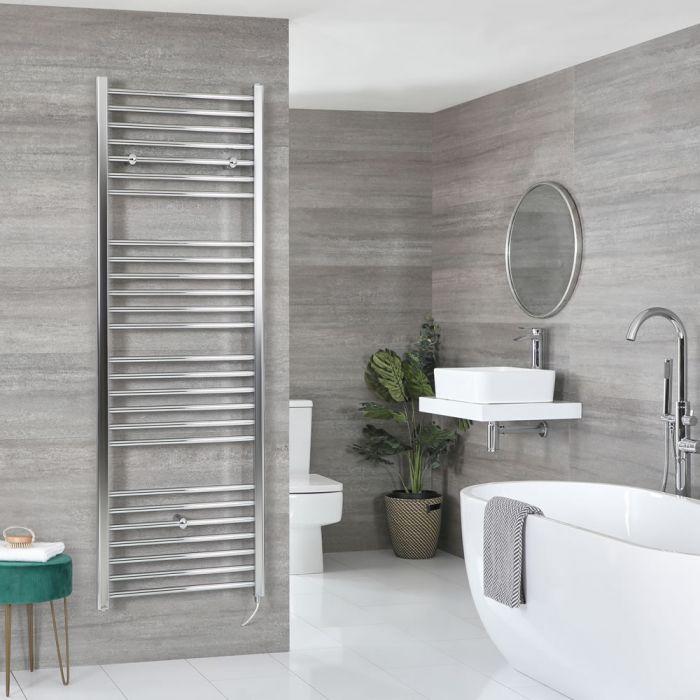 Milano Kent Electric - Flat Chrome Heated Towel Rail 1800mm x 600mm