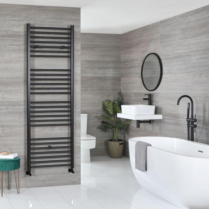 Milano Nero - Flat Matt Black Heated Towel Rail 1800mm x 600mm