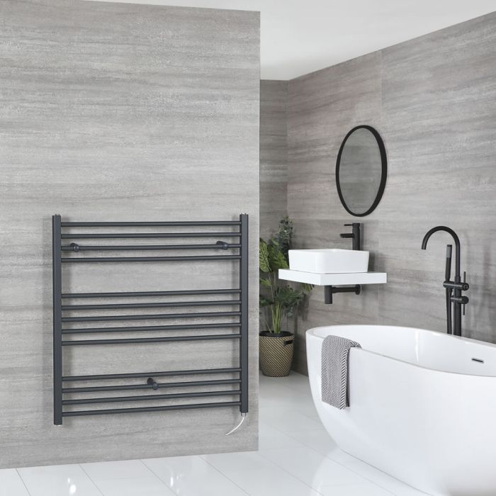 Milano Artle Electric - Flat Anthracite Heated Towel Rail 1000mm x 1000mm