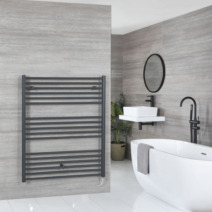 Milano Artle Electric - Flat Anthracite Heated Towel Rail 1200mm x 1000mm