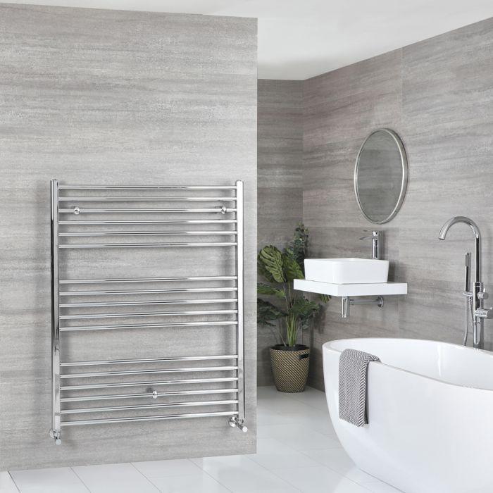 Milano Kent - Flat Chrome Heated Towel Rail 1200mm x 1000mm