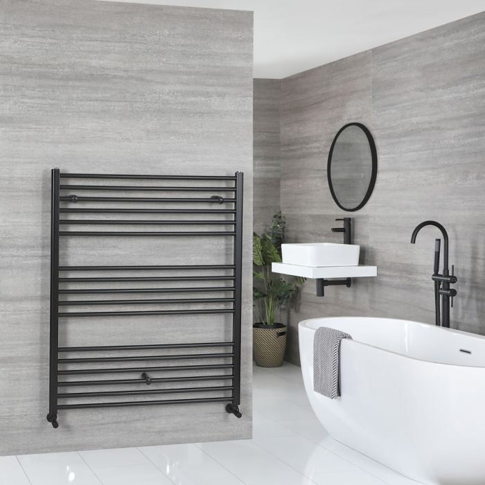 Milano Nero - Flat Matt Black Heated Towel Rail 1200mm x 1000mm