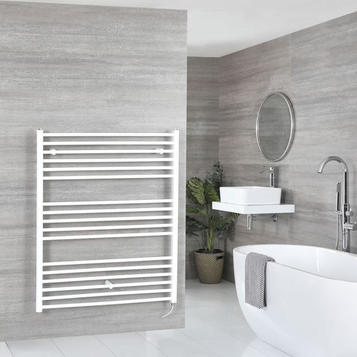 Milano Ive Electric - Flat White Heated Towel Rail 1200mm x 1000mm
