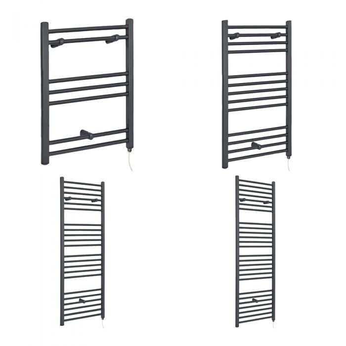 Milano Artle Electric - Flat Anthracite Heated Towel Rail - Various Sizes and Choice of Element