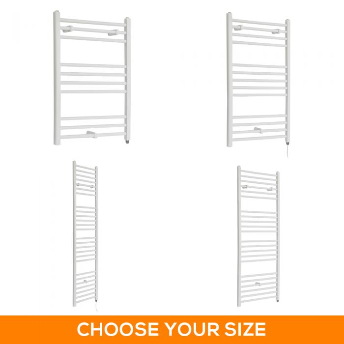 Milano Ive Electric - Flat White Heated Towel Rail - Various Sizes, Choice of Bluetooth Element and Cable Cover