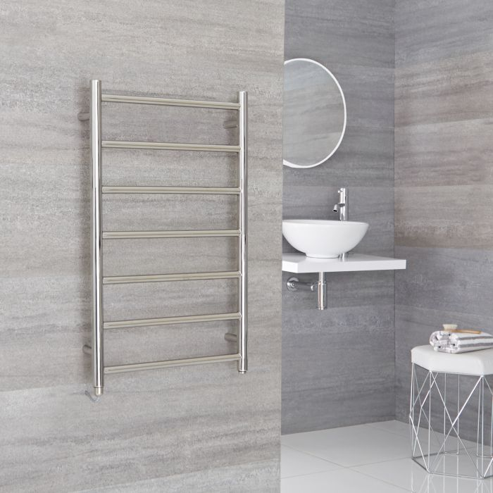 Milano Esk  - Electric Stainless Steel Flat Heated Towel Rail - 800mm x 500mm