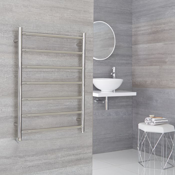 Milano Esk Electric - Electric Stainless Steel Flat Heated Towel Rail - 800mm x 600mm