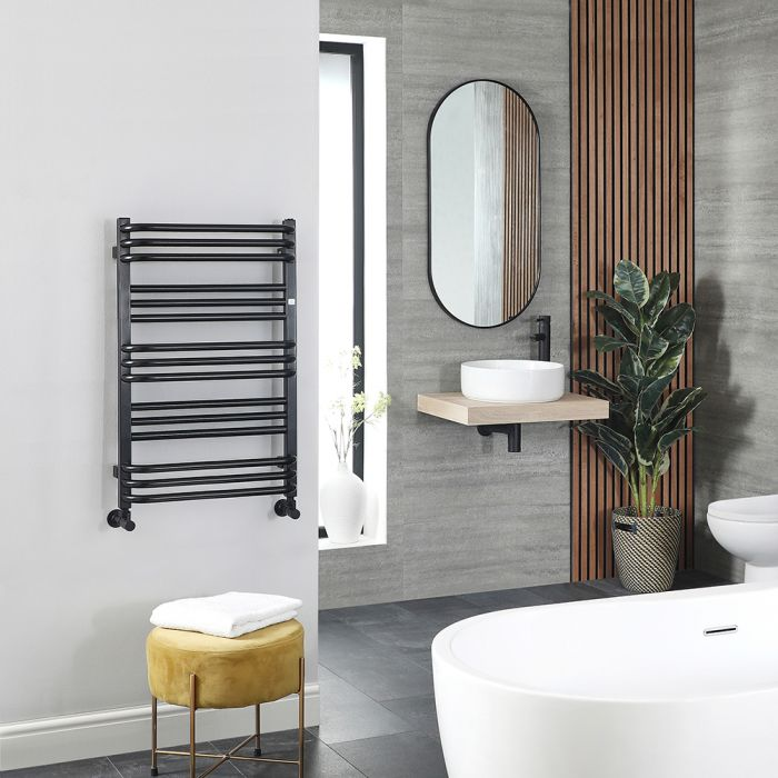 Terma Pola - Black D Bar Heated Towel Rail 780mm x 500mm