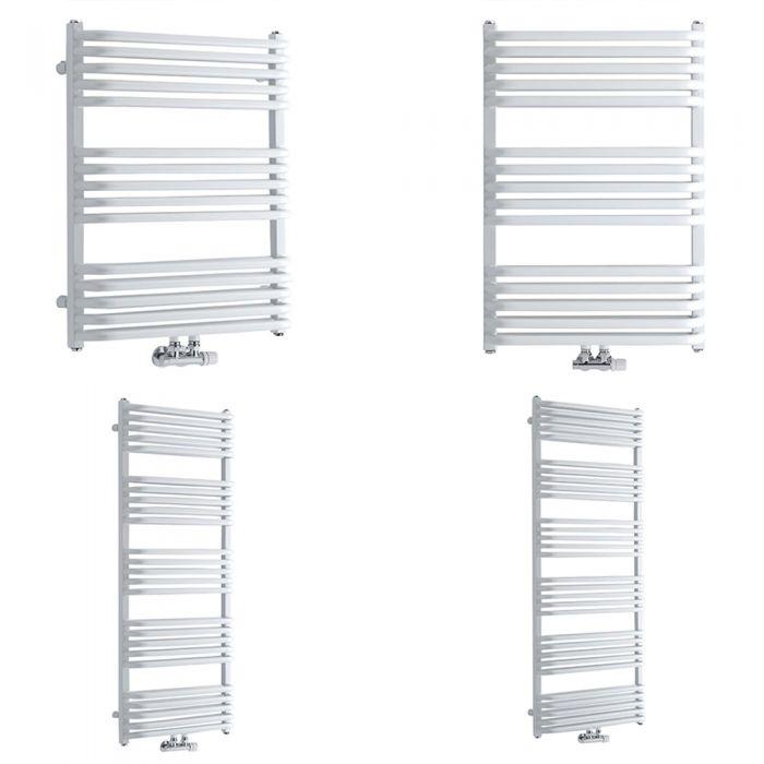 Milano Bow - White D Bar Heated Towel Rail - Various Sizes