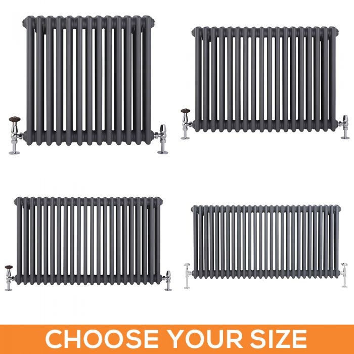 Stelrad Regal - Horizontal Four Column Anthracite Traditional Cast Iron Style Radiator - Choice of Size