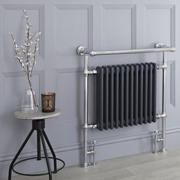 Milano Elizabeth - Anthracite Traditional Heated Towel Rail - 930mm x 790mm (Angled Top Rail)