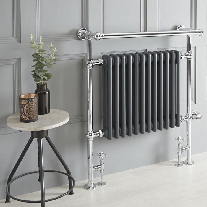Milano Elizabeth - Anthracite Traditional Dual Fuel Heated Towel Rail - 930mm x 790mm (With Overhanging Rail) - Choice of Wi-Fi Thermostat and Cable Cover