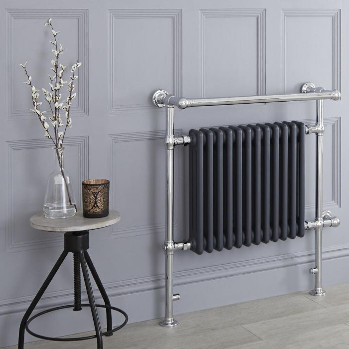 Milano Elizabeth - Anthracite Traditional Electric Heated Towel Rail - 930mm x 790mm (Angled Top Rail)