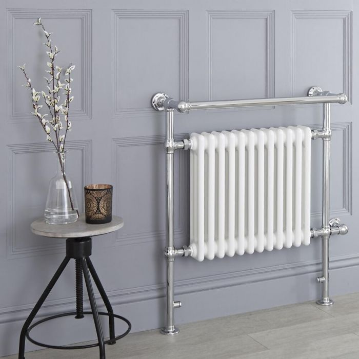 Milano Elizabeth - White Traditional Electric Heated Towel Rail - 930mm x 790mm (Angled Top Rail)