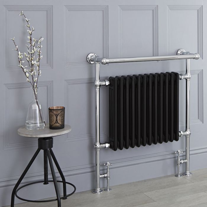 Milano Elizabeth - Black Traditional Heated Towel Rail - 930mm x 790mm (Angled Top Rail)