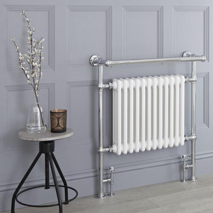 Milano Elizabeth - White Traditional Heated Towel Rail - 930mm x 790mm (Angled Top Rail)