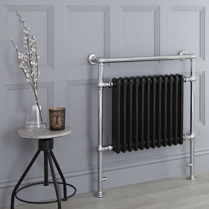 Milano Elizabeth - Black Traditional Electric Heated Towel Rail - 930mm x 790mm