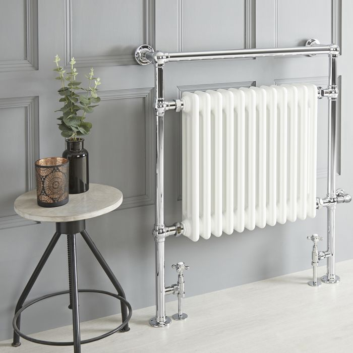 Milano Elizabeth - White Traditional Dual Fuel Heated Towel Rail - 930mm x 790mm - Choice of Wi-Fi Thermostat and Cable Cover