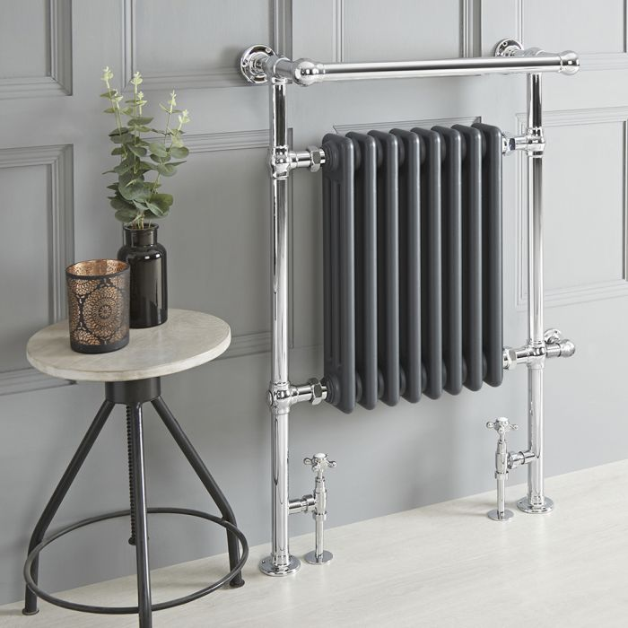 Milano Elizabeth - Anthracite Traditional Dual Fuel Heated Towel Rail - 930mm x 620mm (With Overhanging Rail) - Choice of Wi-Fi Thermostat and Cable Cover