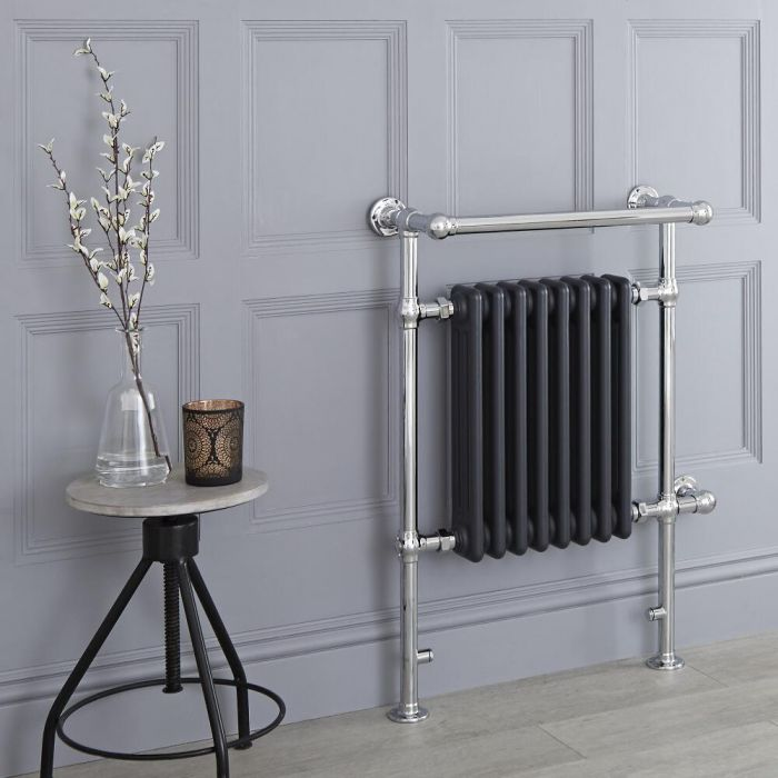 Milano Elizabeth - Anthracite Traditional Electric Heated Towel Rail - 930mm x 620mm (Angled Top Rail)