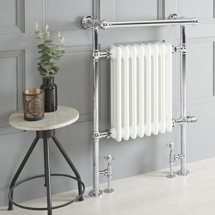 Milano Elizabeth - White Traditional Dual Fuel Heated Towel Rail - 930mm x 620mm (With Overhanging Rail) - Choice of Wi-Fi Thermostat and Cable Cover