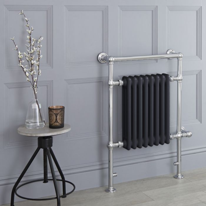 Milano Elizabeth - Anthracite Traditional Electric Heated Towel Rail - 930mm x 620mm