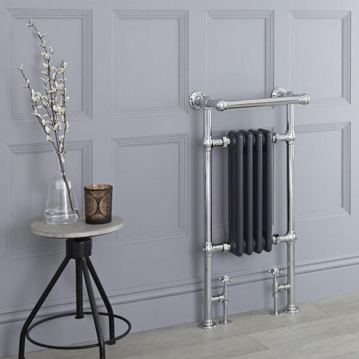 Milano Elizabeth - Anthracite Traditional Heated Towel Rail - 930mm x 450mm (Angled Top Rail)