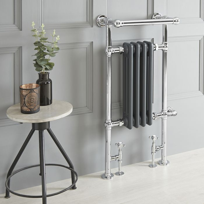 Milano Elizabeth - Anthracite Traditional Dual Fuel Heated Towel Rail - 930mm x 450mm (With Overhanging Rail) - Choice of Wi-Fi Thermostat and Cable Cover