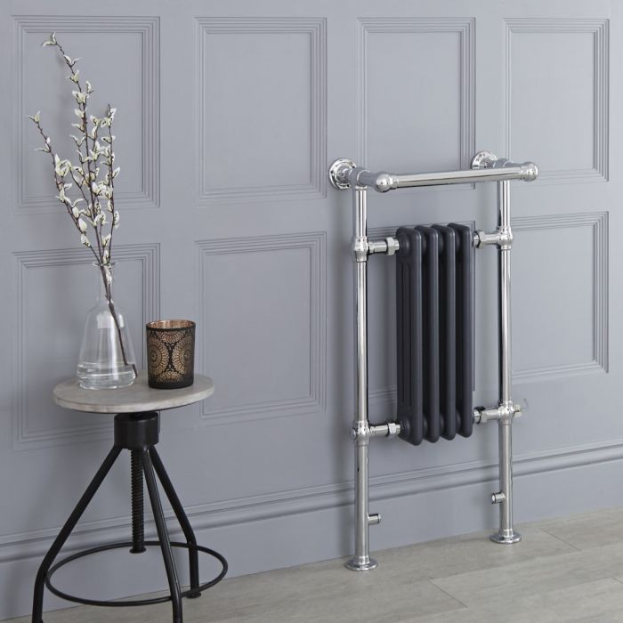 Milano Elizabeth - Anthracite Traditional Electric Heated Towel Rail - 930mm x 452mm (Angled Top Rail)
