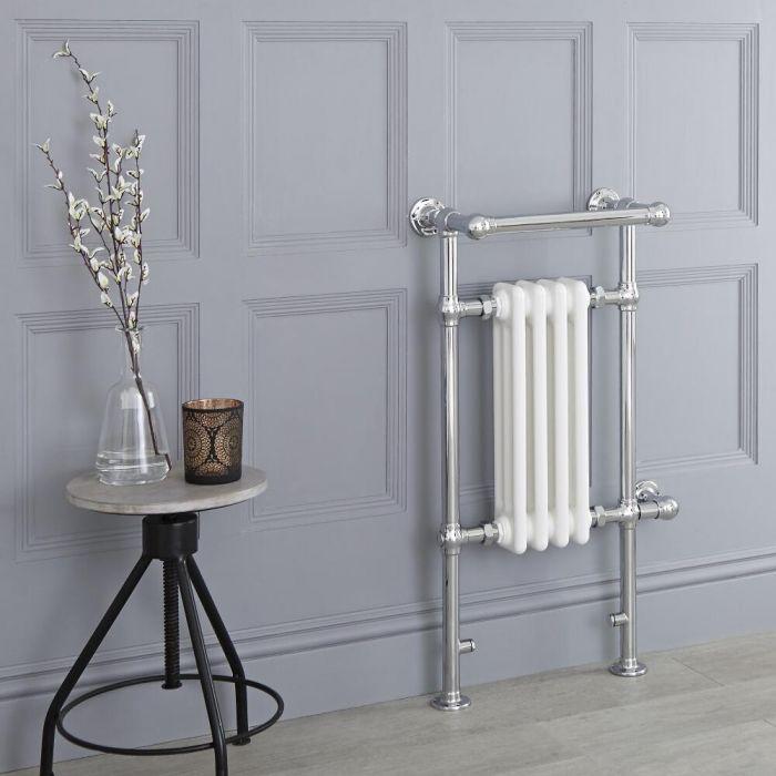 Milano Elizabeth - White Traditional Electric Heated Towel Rail - 930mm x 452mm (Angled Top Rail)