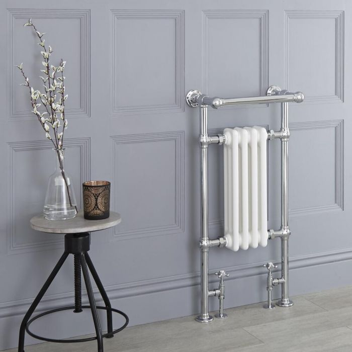 Milano Elizabeth - White Traditional Heated Towel Rail - 930mm x 450mm (Angled Top Rail)