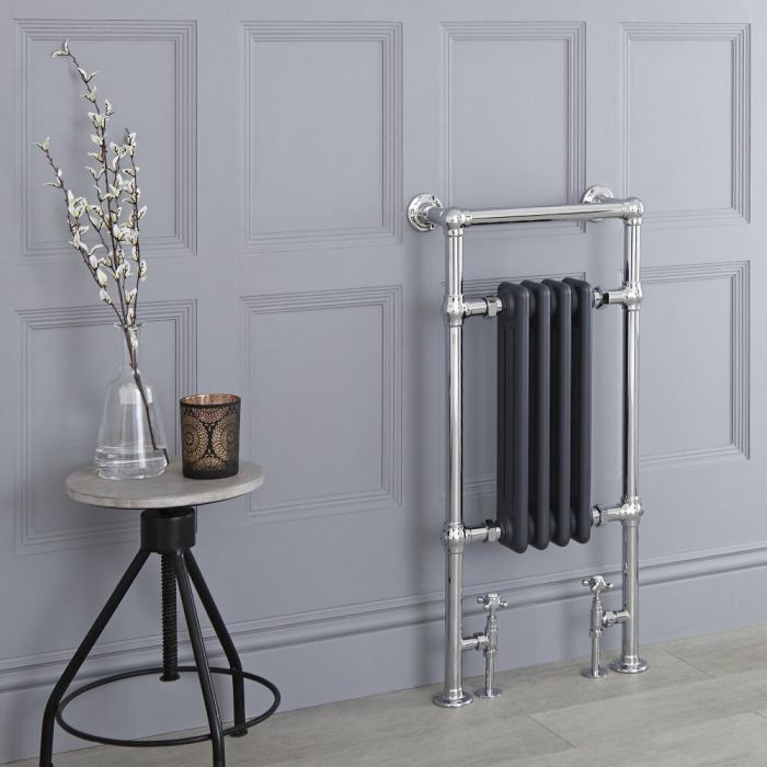 Milano Elizabeth - Anthracite Traditional Heated Towel Rail - 930mm x 450mm