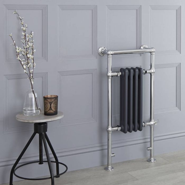 Milano Elizabeth - Anthracite Traditional Electric Heated Towel Rail - 930mm x 452mm