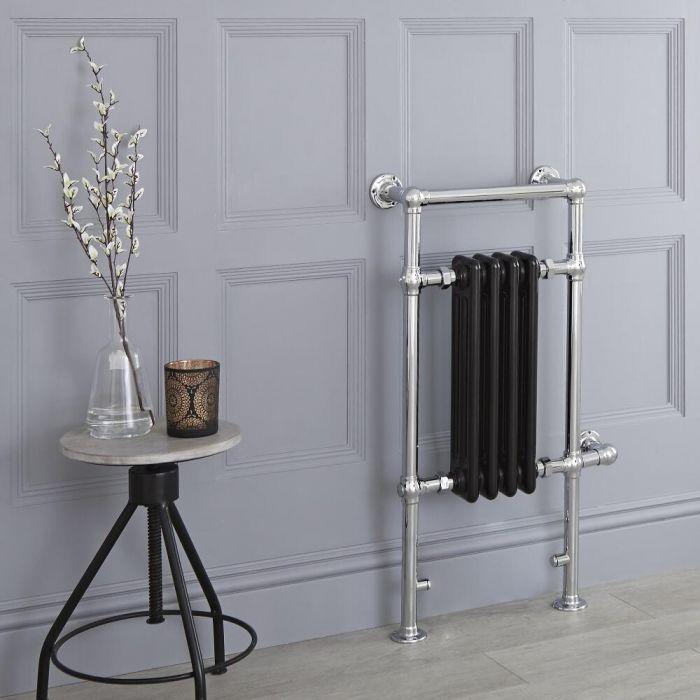 Milano Elizabeth - Black Traditional Electric Heated Towel Rail - 930mm x 450mm