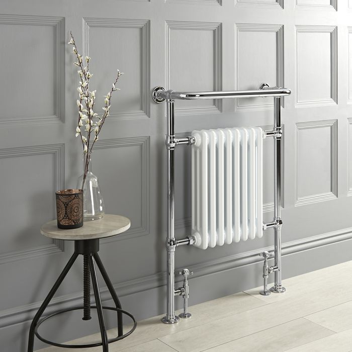 Milano Elizabeth - White Traditional Heated Towel Rail - 965mm x 673mm (With Overhanging Rail)