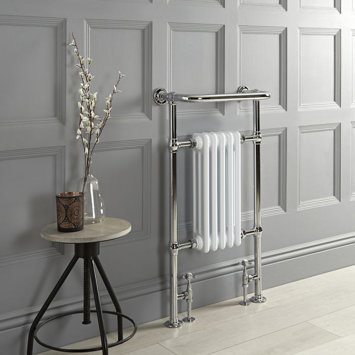 Milano Elizabeth - White Traditional Heated Towel Rail - 965mm x 540mm (With Overhanging Rail)