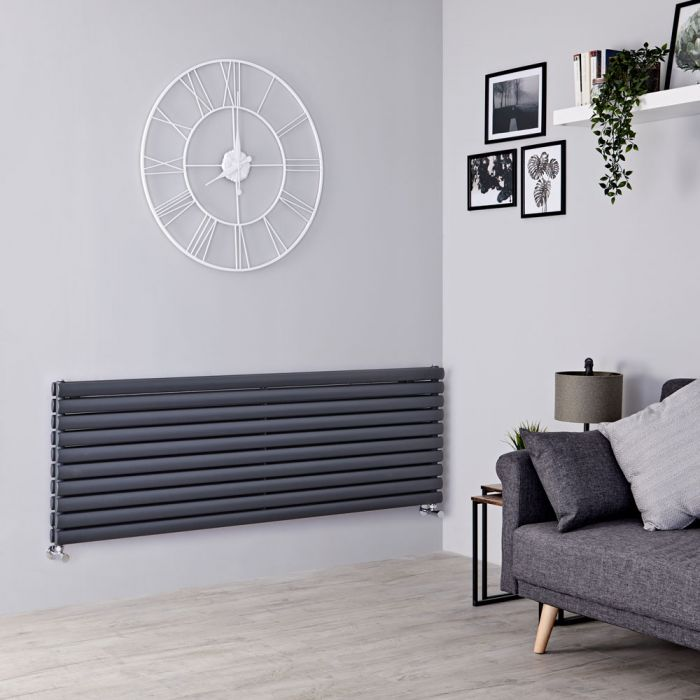 Milano Aruba - Anthracite Horizontal Designer Radiator 590mm x 1780mm (Double Panel)