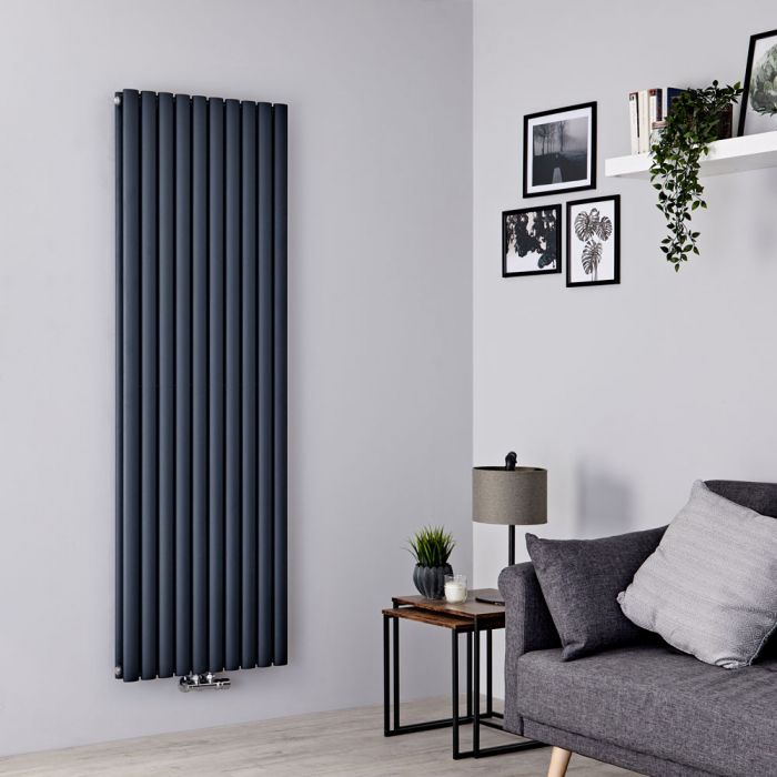Milano Aruba Flow - Anthracite Vertical Double Panel Middle Connection Designer Radiator 1780mm x 590mm