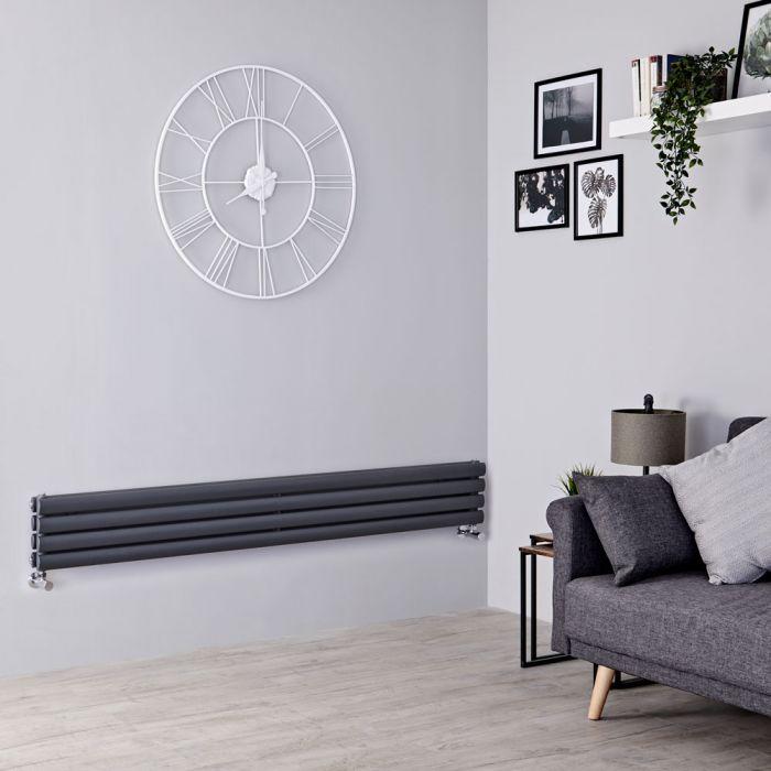Milano Aruba - Anthracite Horizontal Designer Radiator 236mm x 1780mm (Double Panel)