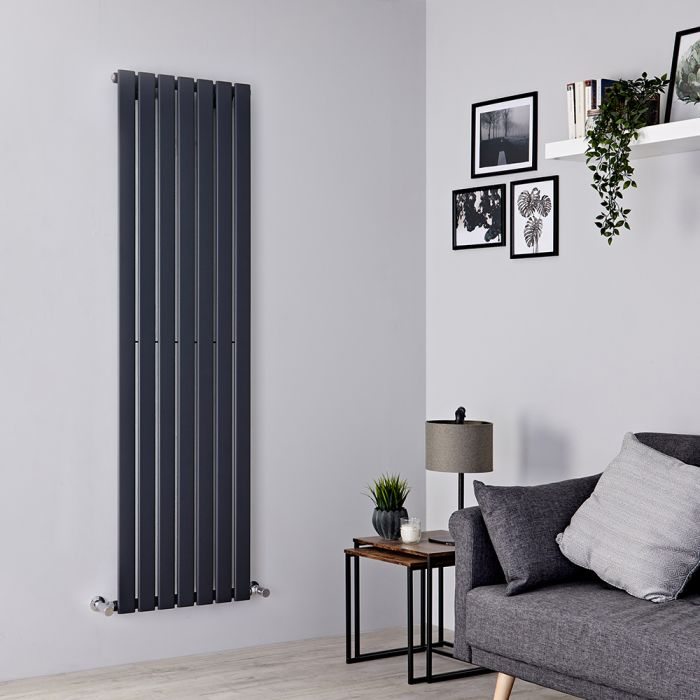 Milano Alpha - Anthracite Vertical Single Slim Panel Designer Radiator 1780mm x 490mm