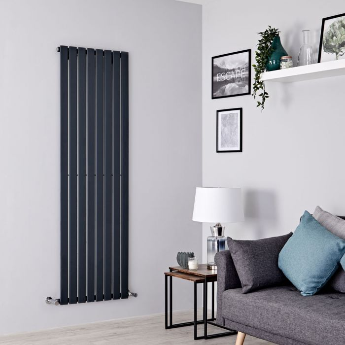 Milano Alpha - Anthracite Vertical Single Slim Panel Designer Radiator 1780mm x 560mm