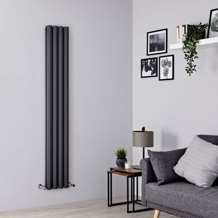 Milano Viti - Anthracite Vertical Diamond Double Panel Designer Radiator 1780mm x 280mm