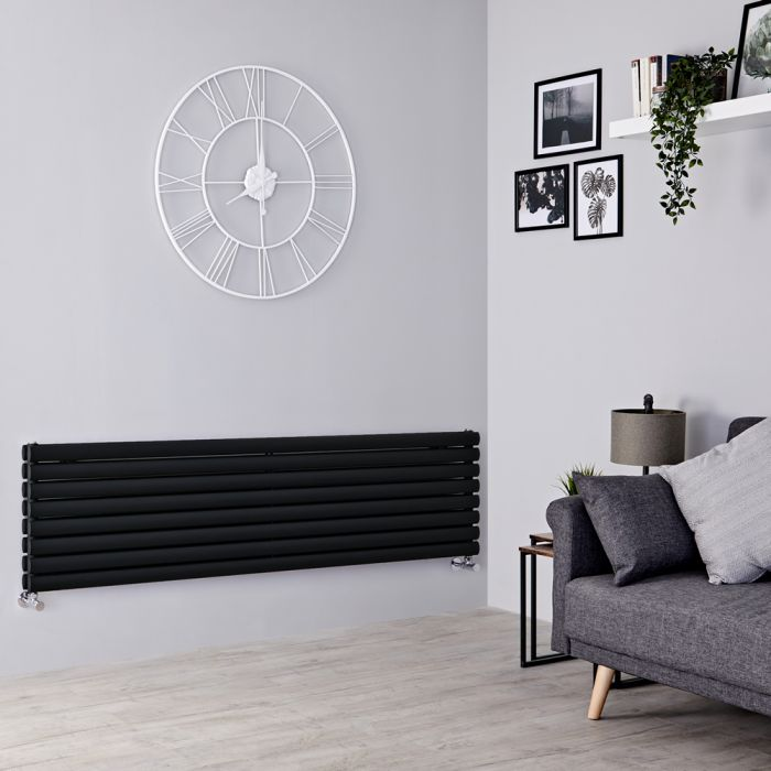 Milano Aruba - Black Horizontal Designer Double Radiator 472mm x 1780mm