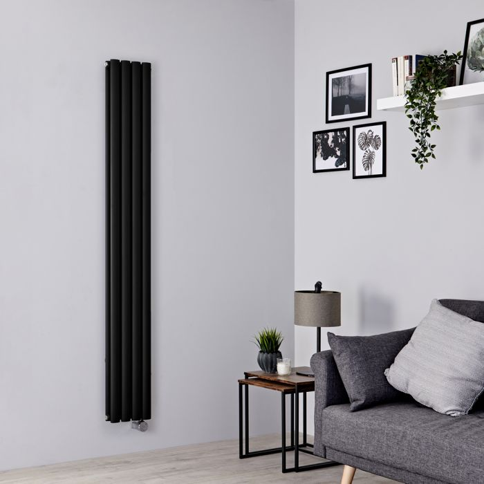 Milano Aruba Slim Electric - Black Space-Saving Vertical Designer Radiator 1780mm x 236mm (Double Panel)