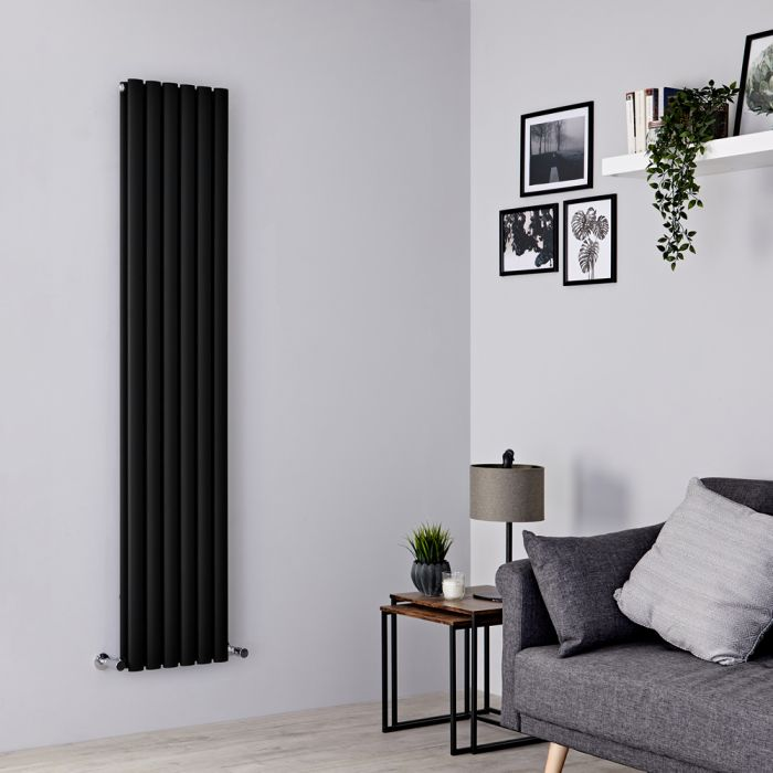 Milano Aruba - Black Vertical Designer Radiator 1780mm x 354mm (Double Panel)